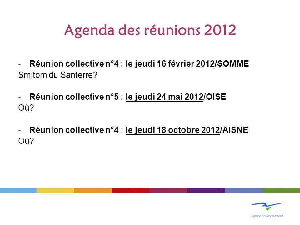 Agenda des réunions 2012 -Réunion collective n°4 : le jeudi 16 février 2012/SOMME Smitom du Santerre.