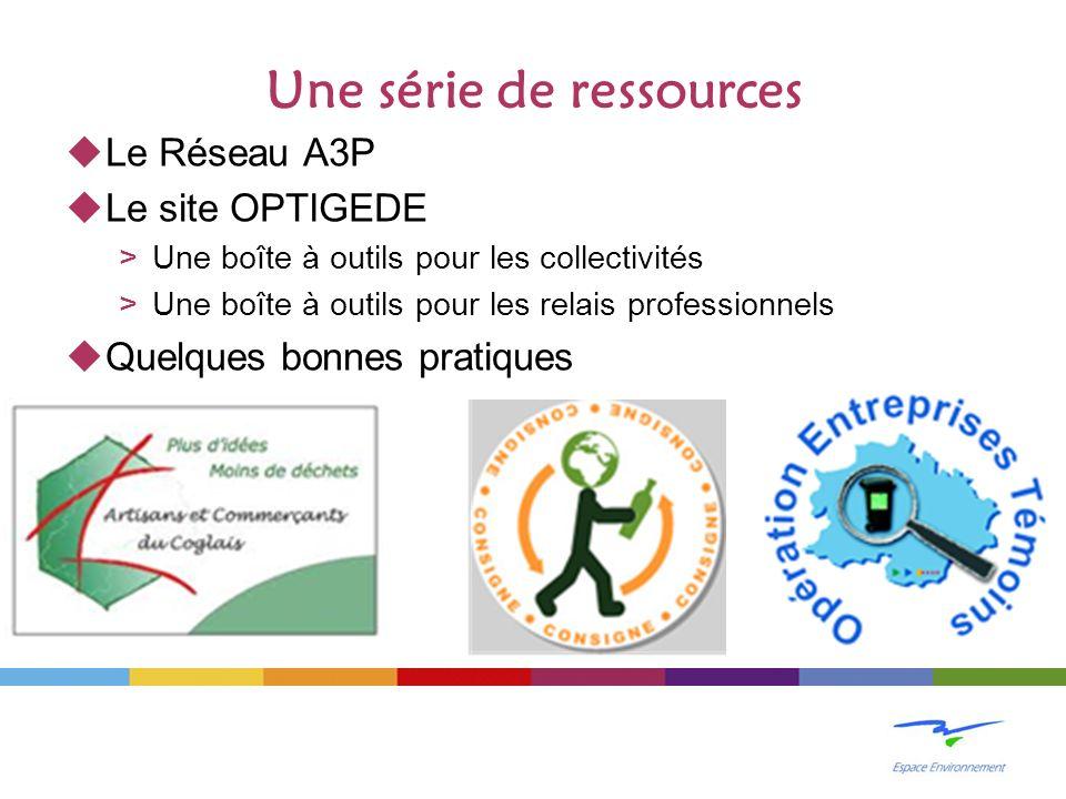 Une série de ressources Le Réseau A3P Le site OPTIGEDE >Une boîte à outils pour les collectivités >Une boîte à outils pour les relais professionnels Quelques bonnes pratiques
