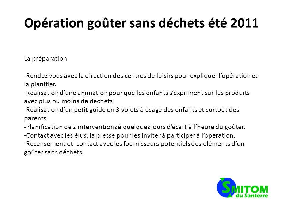 Opération goûter sans déchets été 2011 La préparation -Rendez vous avec la direction des centres de loisirs pour expliquer lopération et la planifier.