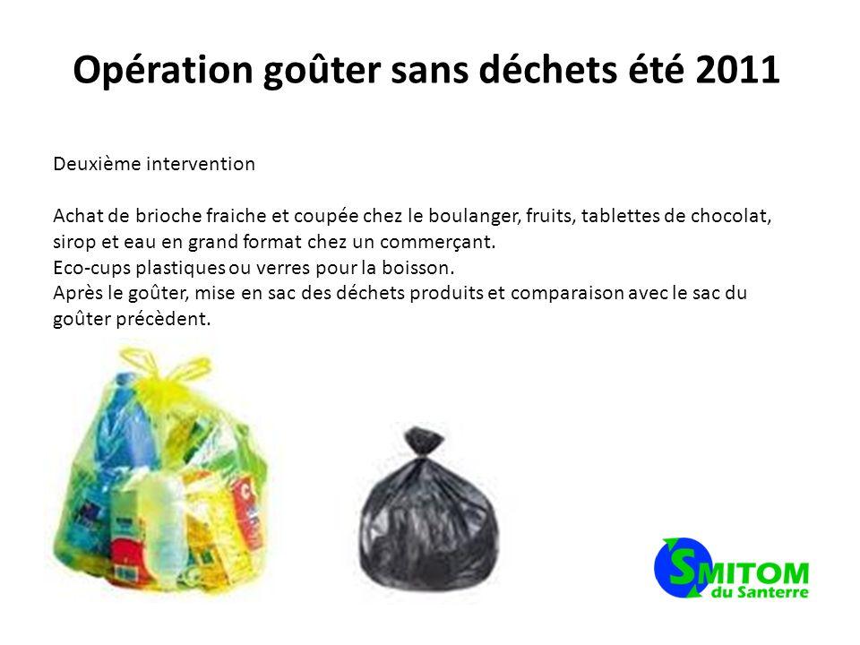 Opération goûter sans déchets été 2011 Deuxième intervention Achat de brioche fraiche et coupée chez le boulanger, fruits, tablettes de chocolat, siro