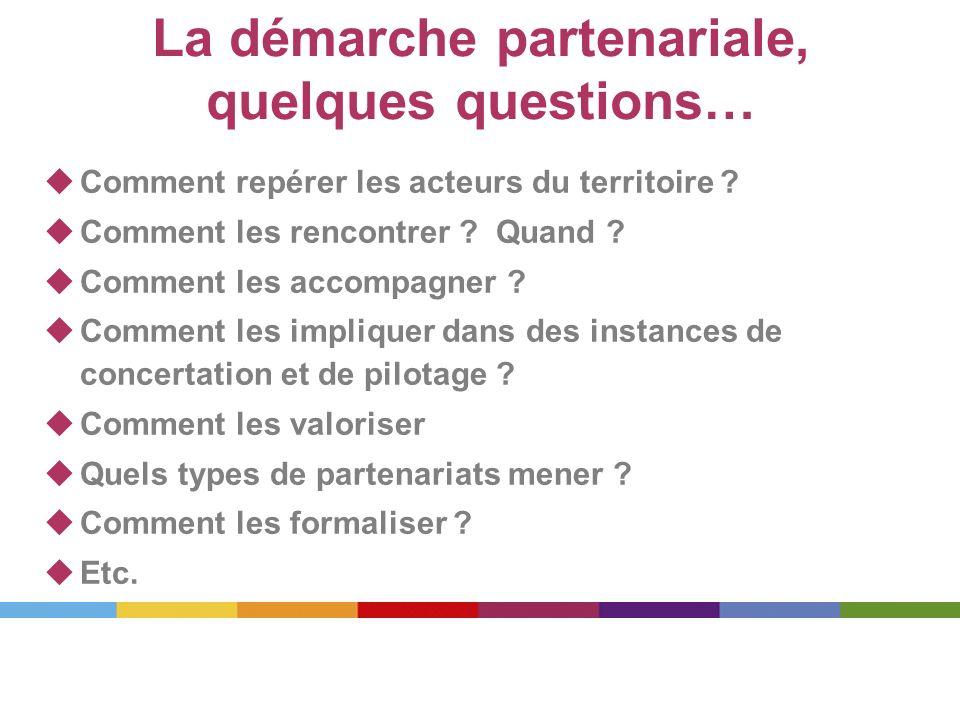 La démarche partenariale, quelques questions… Comment repérer les acteurs du territoire ? Comment les rencontrer ? Quand ? Comment les accompagner ? C