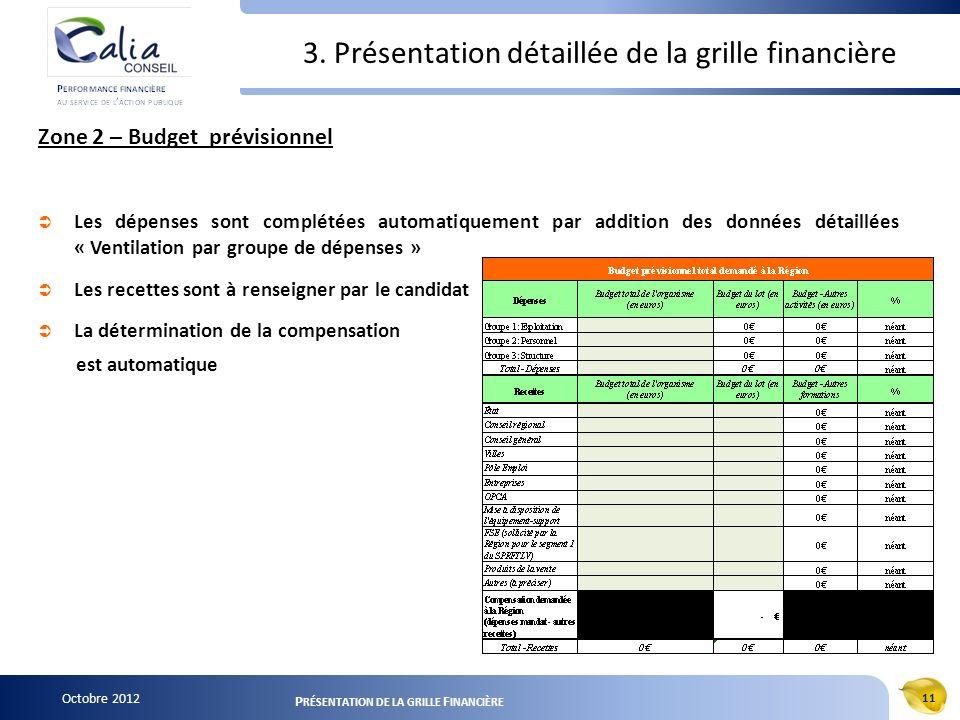 Octobre 2012 11 P RÉSENTATION DE LA GRILLE F INANCIÈRE 3. Présentation détaillée de la grille financière Zone 2 – Budget prévisionnel Les dépenses son