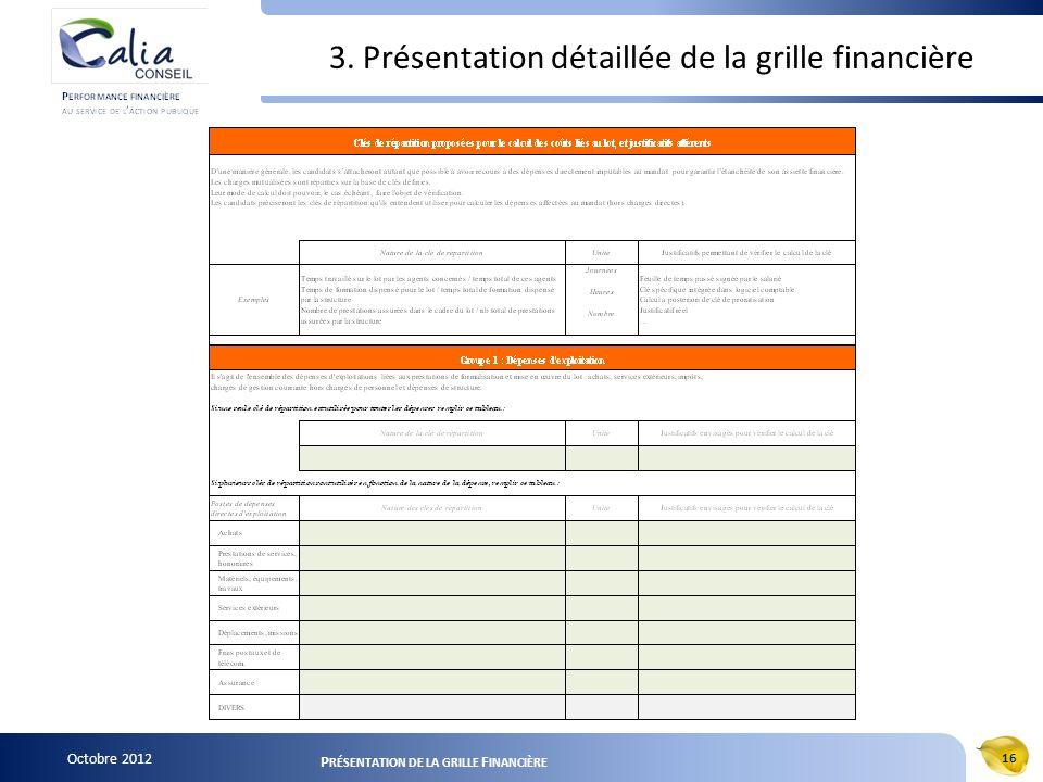 Octobre 2012 16 P RÉSENTATION DE LA GRILLE F INANCIÈRE 3. Présentation détaillée de la grille financière