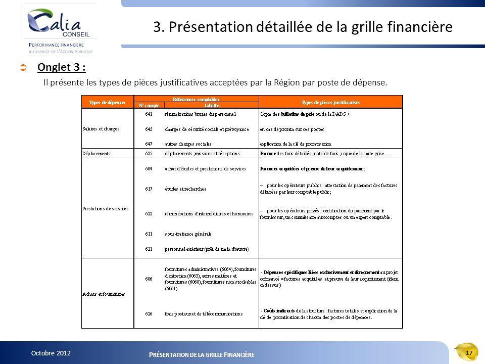Octobre 2012 17 P RÉSENTATION DE LA GRILLE F INANCIÈRE 3. Présentation détaillée de la grille financière Onglet 3 : Il présente les types de pièces ju