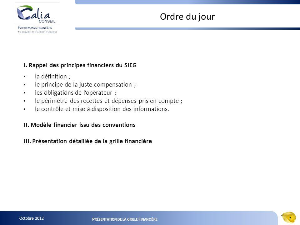 Octobre 2012 2 P RÉSENTATION DE LA GRILLE F INANCIÈRE Ordre du jour I. Rappel des principes financiers du SIEG la définition ; le principe de la juste