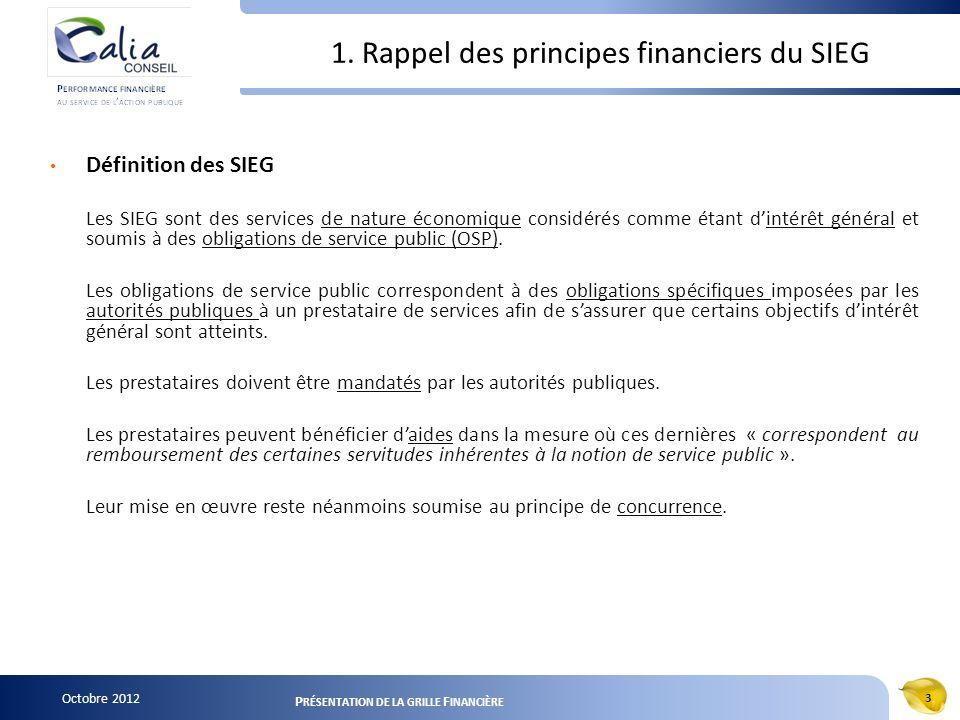 Octobre 2012 3 P RÉSENTATION DE LA GRILLE F INANCIÈRE 1. Rappel des principes financiers du SIEG Définition des SIEG Les SIEG sont des services de nat