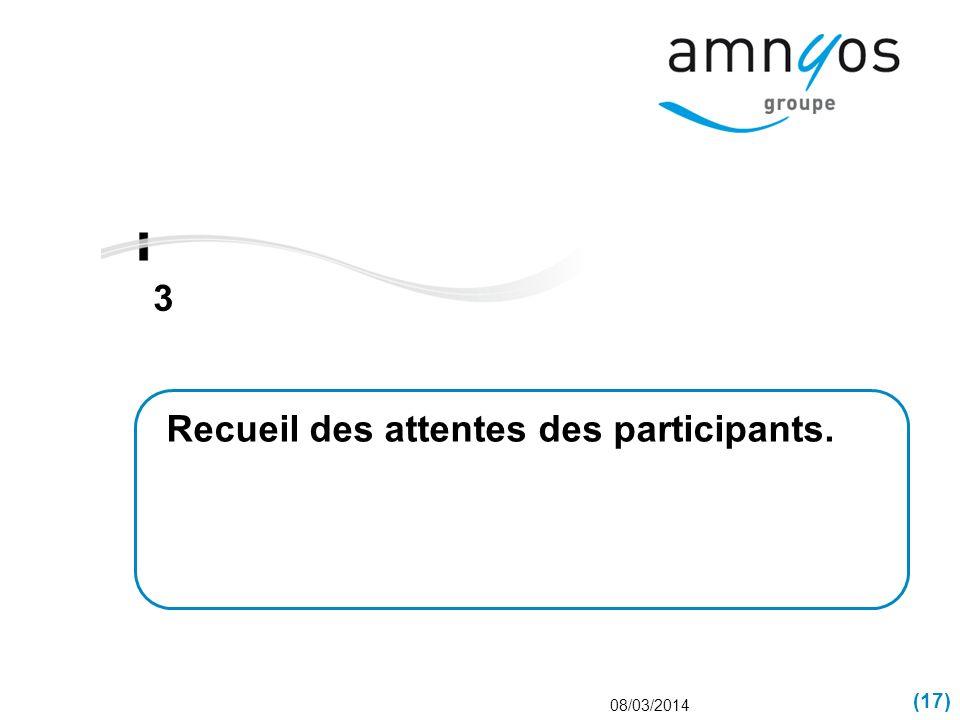 (17) 3 08/03/2014 Recueil des attentes des participants.
