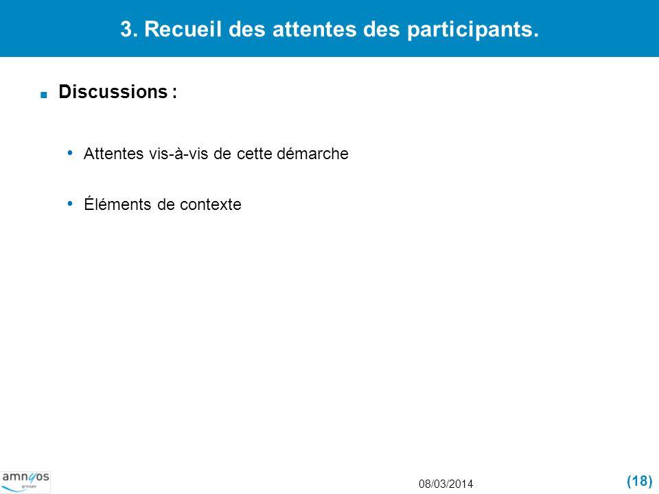 3. Recueil des attentes des participants. Discussions : Attentes vis-à-vis de cette démarche Éléments de contexte 08/03/2014 (18)