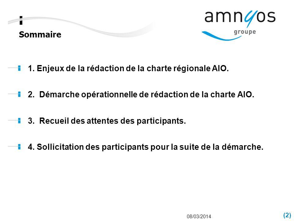 Sommaire (2) 08/03/2014 1. Enjeux de la rédaction de la charte régionale AIO. 2. Démarche opérationnelle de rédaction de la charte AIO. 3. Recueil des