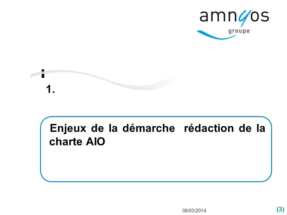 (3) 1. 08/03/2014 Enjeux de la démarche rédaction de la charte AIO