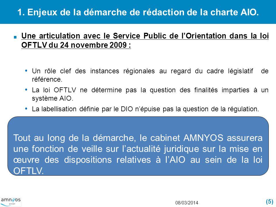 1. Enjeux de la démarche de rédaction de la charte AIO. Une articulation avec le Service Public de lOrientation dans la loi OFTLV du 24 novembre 2009