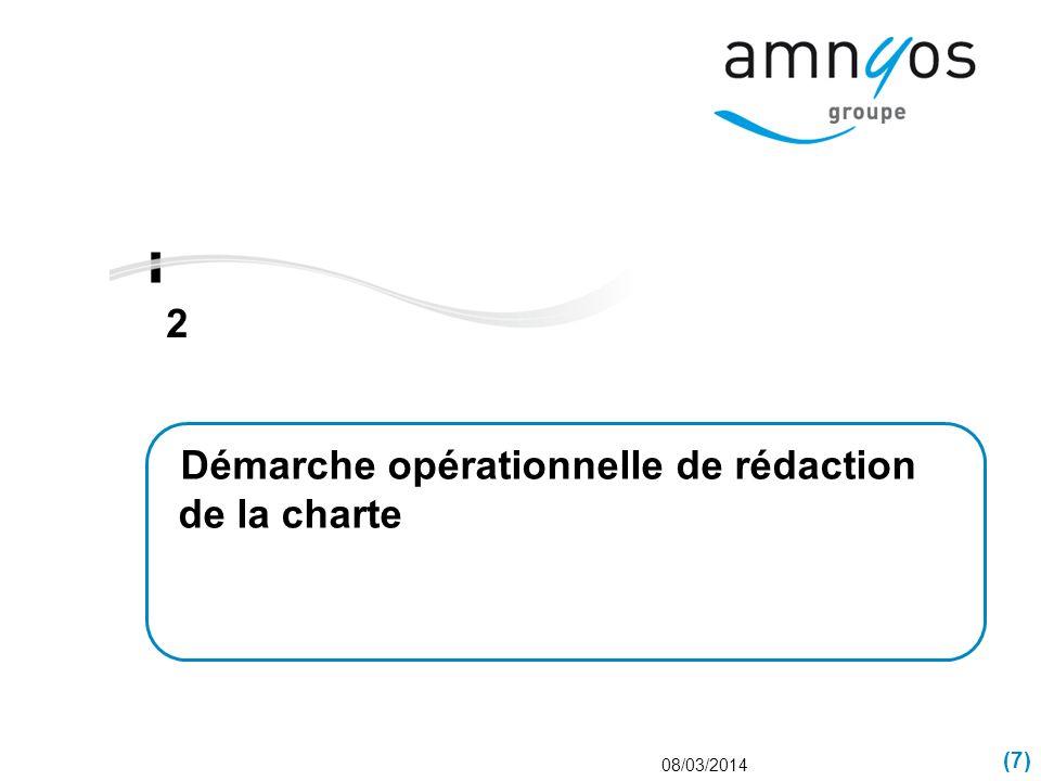 (7) 2 08/03/2014 Démarche opérationnelle de rédaction de la charte