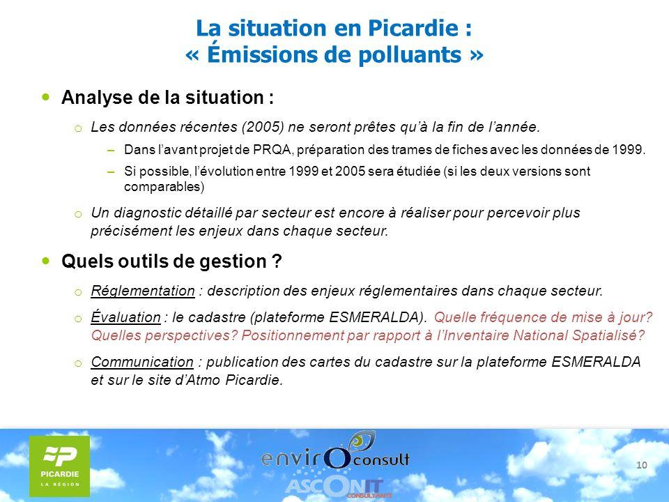 10 La situation en Picardie : « Émissions de polluants » Analyse de la situation : o Les données récentes (2005) ne seront prêtes quà la fin de lannée
