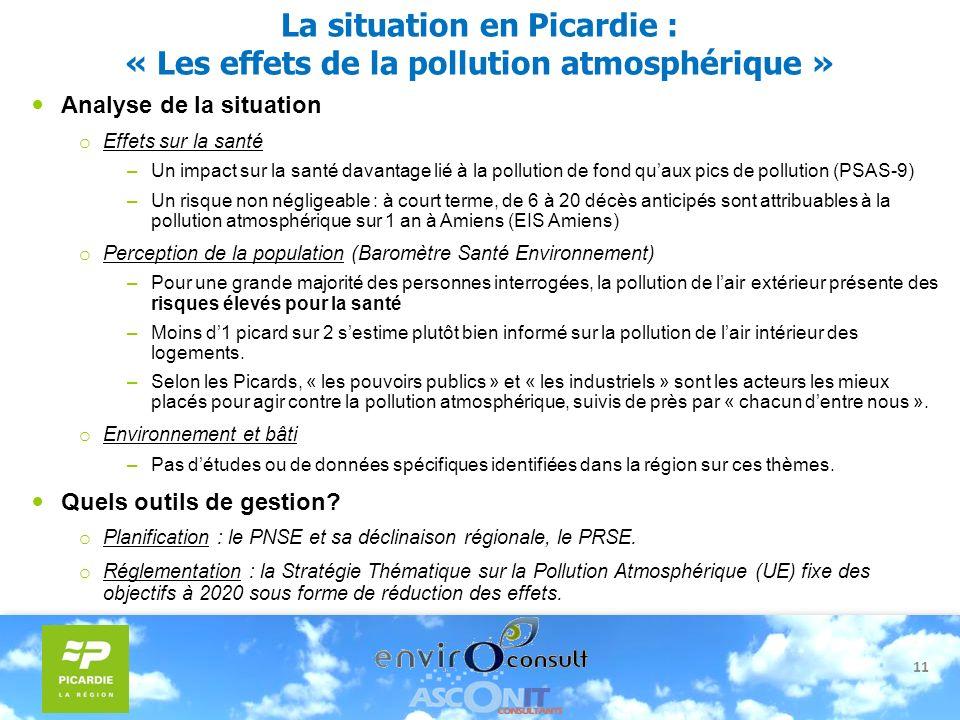 11 La situation en Picardie : « Les effets de la pollution atmosphérique » Analyse de la situation o Effets sur la santé –Un impact sur la santé davan