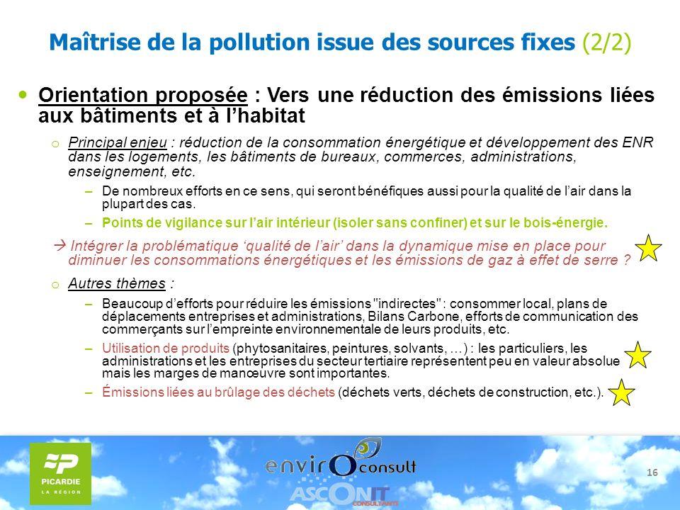 16 Maîtrise de la pollution issue des sources fixes (2/2) Orientation proposée : Vers une réduction des émissions liées aux bâtiments et à lhabitat o