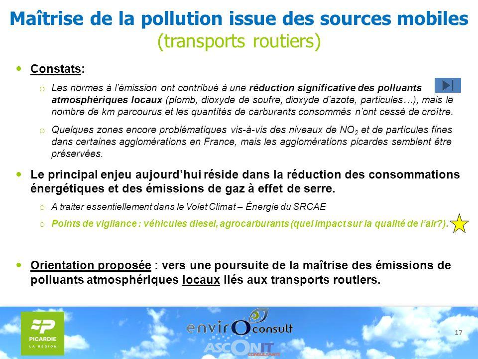17 Maîtrise de la pollution issue des sources mobiles (transports routiers) Constats: o Les normes à lémission ont contribué à une réduction significa