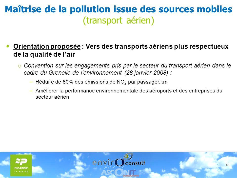 18 Maîtrise de la pollution issue des sources mobiles (transport aérien) Orientation proposée : Vers des transports aériens plus respectueux de la qua