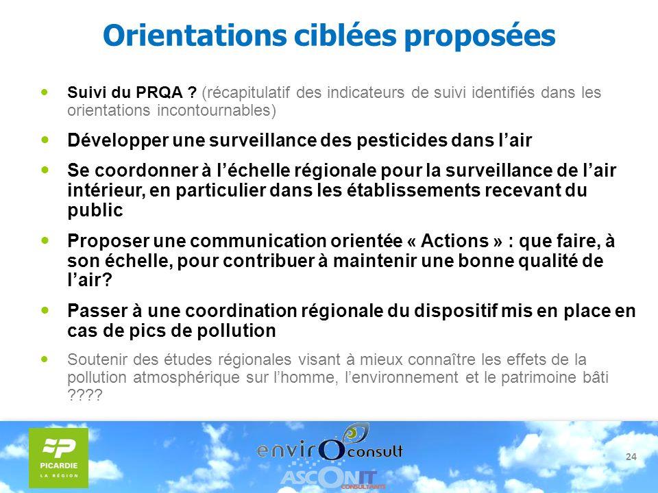 24 Orientations ciblées proposées Suivi du PRQA ? (récapitulatif des indicateurs de suivi identifiés dans les orientations incontournables) Développer