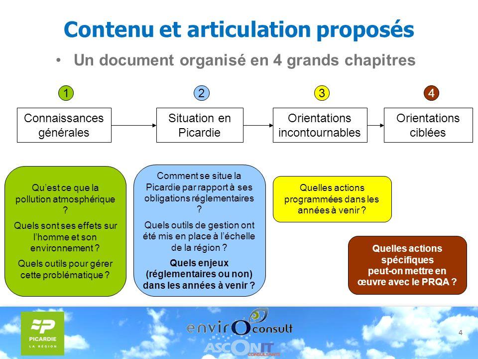 4 Contenu et articulation proposés Un document organisé en 4 grands chapitres Connaissances générales Quest ce que la pollution atmosphérique ? Quels