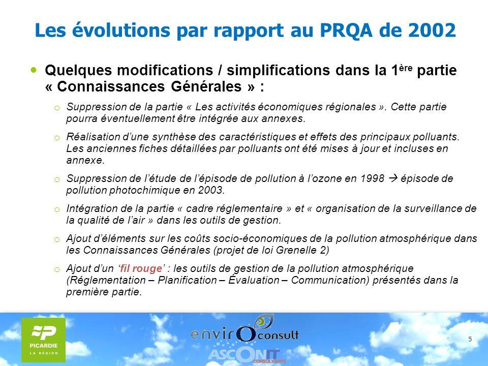 5 Les évolutions par rapport au PRQA de 2002 Quelques modifications / simplifications dans la 1 ère partie « Connaissances Générales » : o Suppression