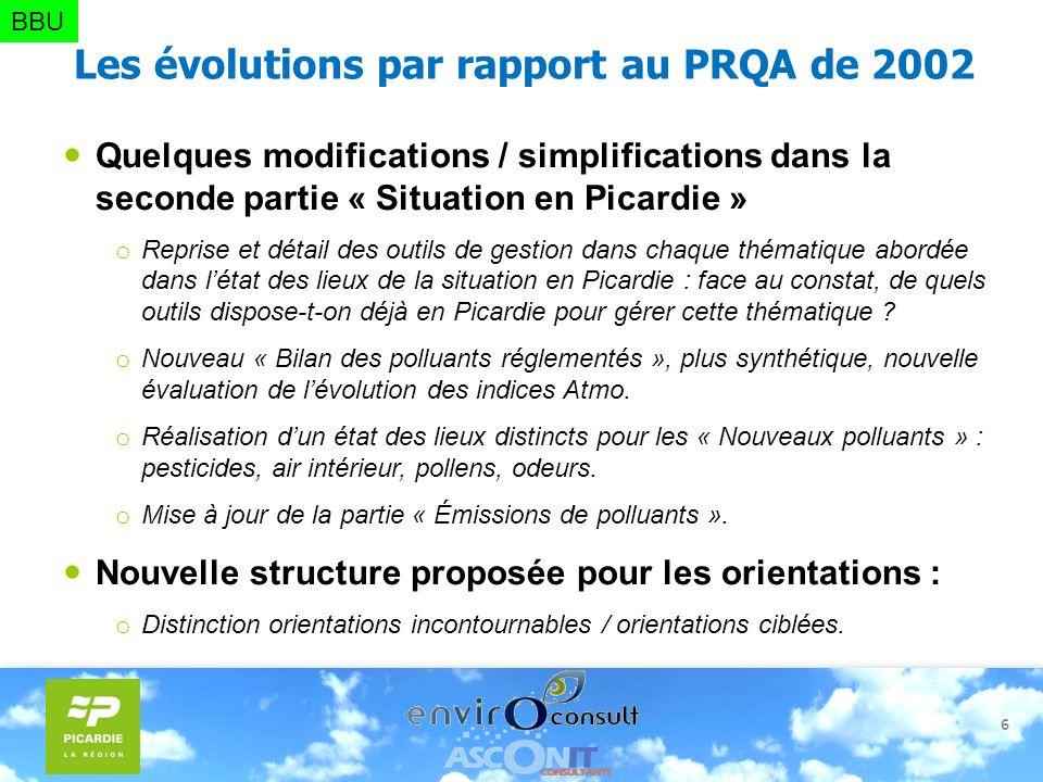 6 Les évolutions par rapport au PRQA de 2002 Quelques modifications / simplifications dans la seconde partie « Situation en Picardie » o Reprise et dé