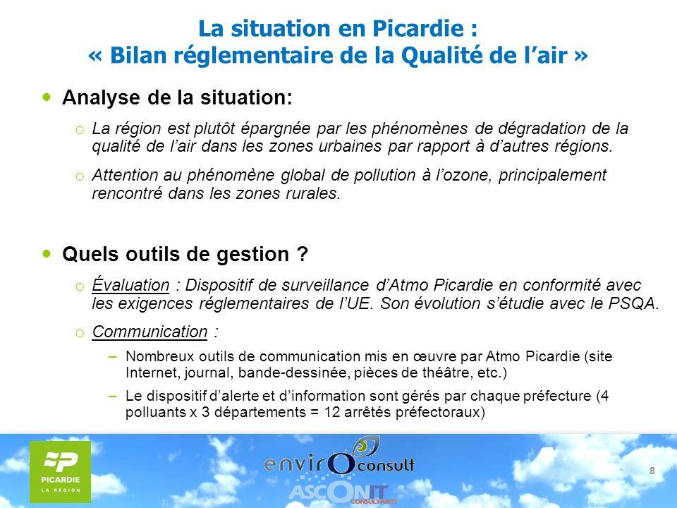 8 La situation en Picardie : « Bilan réglementaire de la Qualité de lair » Analyse de la situation: o La région est plutôt épargnée par les phénomènes