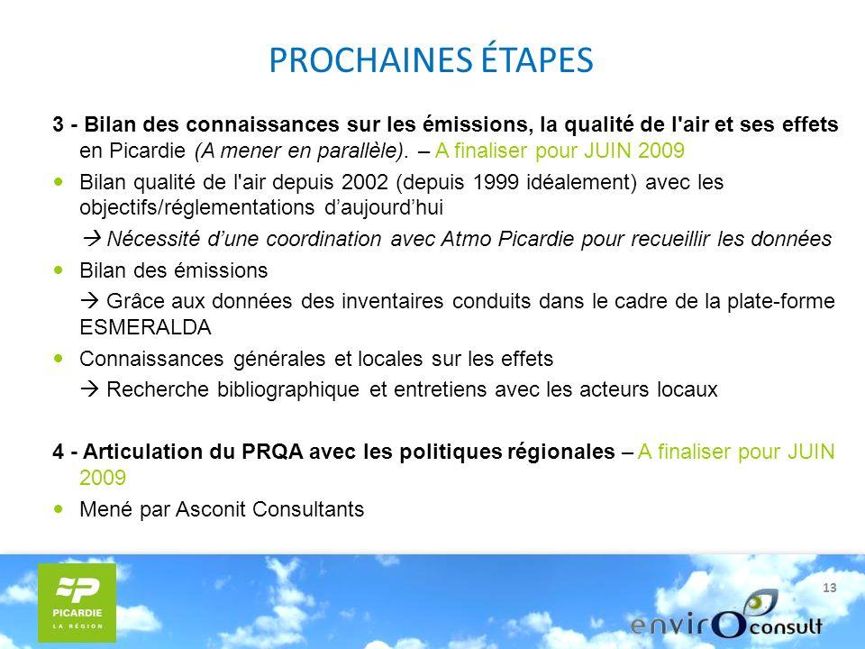 13 PROCHAINES ÉTAPES 3 - Bilan des connaissances sur les émissions, la qualité de l air et ses effets en Picardie (A mener en parallèle).
