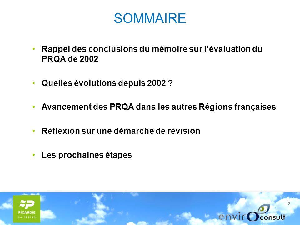 2 SOMMAIRE Rappel des conclusions du mémoire sur lévaluation du PRQA de 2002 Quelles évolutions depuis 2002 .