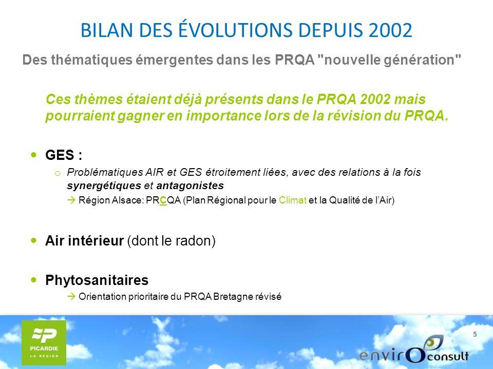 5 Des thématiques émergentes dans les PRQA nouvelle génération Ces thèmes étaient déjà présents dans le PRQA 2002 mais pourraient gagner en importance lors de la révision du PRQA.