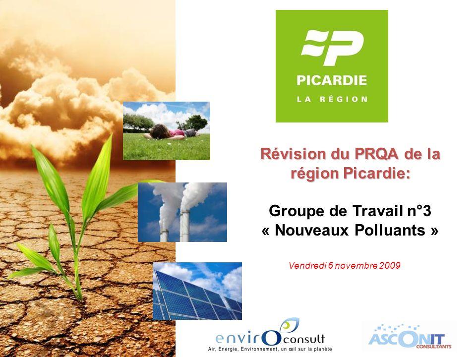 Révision du PRQA de la région Picardie: Groupe de Travail n°3 « Nouveaux Polluants » Vendredi 6 novembre 2009