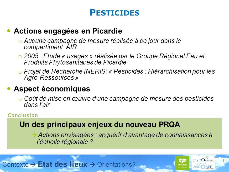 P ESTICIDES Actions engagées en Picardie o Aucune campagne de mesure réalisée à ce jour dans le compartiment AIR o 2005 : Etude « usages » réalisée par le Groupe Régional Eau et Produits Phytosanitaires de Picardie o Projet de Recherche INERIS: « Pesticides : Hiérarchisation pour les Agro-Ressources » Aspect économiques o Coût de mise en œuvre dune campagne de mesure des pesticides dans lair 15 Un des principaux enjeux du nouveau PRQA Actions envisagées : acquérir davantage de connaissances à léchelle régionale .