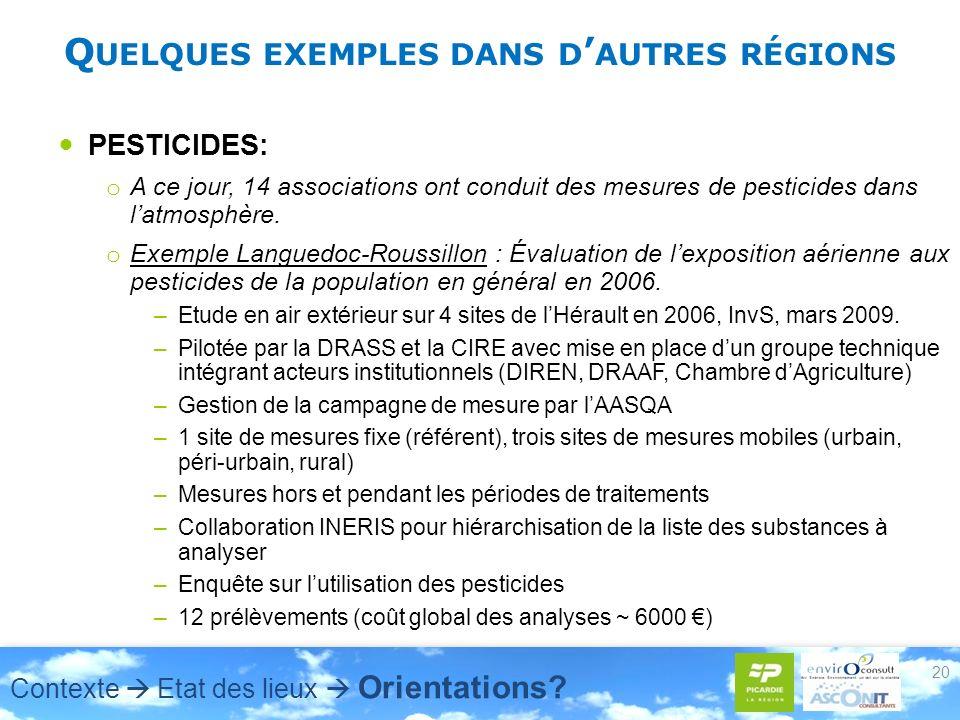 Q UELQUES EXEMPLES DANS D AUTRES RÉGIONS PESTICIDES: o A ce jour, 14 associations ont conduit des mesures de pesticides dans latmosphère.