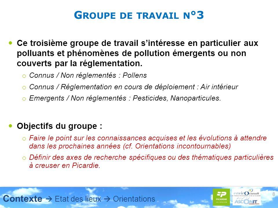 G ROUPE DE TRAVAIL N °3 Ce troisième groupe de travail sintéresse en particulier aux polluants et phénomènes de pollution émergents ou non couverts par la réglementation.