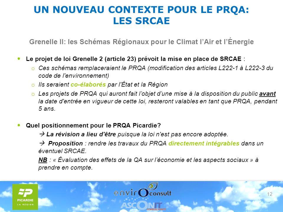 12 UN NOUVEAU CONTEXTE POUR LE PRQA: LES SRCAE Grenelle II: les Schémas Régionaux pour le Climat lAir et lÉnergie Le projet de loi Grenelle 2 (article 23) prévoit la mise en place de SRCAE : o Ces schémas remplaceraient le PRQA (modification des articles L222-1 à L222-3 du code de l environnement) o Ils seraient co-élaborés par l État et la Région o Les projets de PRQA qui auront fait lobjet dune mise à la disposition du public avant la date d entrée en vigueur de cette loi, resteront valables en tant que PRQA, pendant 5 ans.