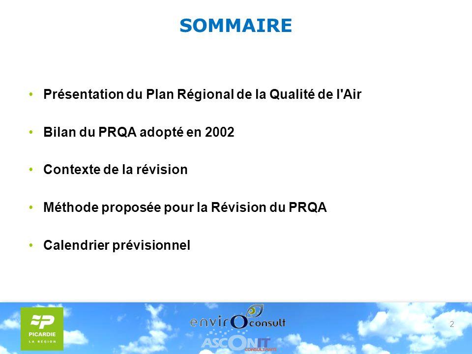 2 SOMMAIRE Présentation du Plan Régional de la Qualité de l Air Bilan du PRQA adopté en 2002 Contexte de la révision Méthode proposée pour la Révision du PRQA Calendrier prévisionnel