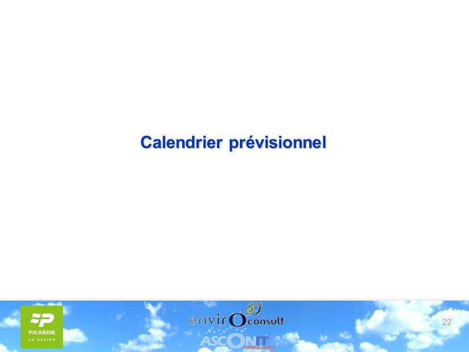 22 Calendrier prévisionnel