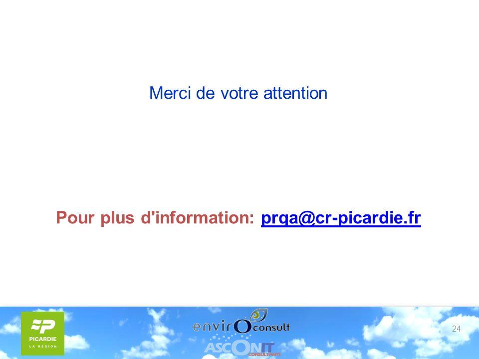 24 Merci de votre attention Pour plus d information: prqa@cr-picardie.frprqa@cr-picardie.fr