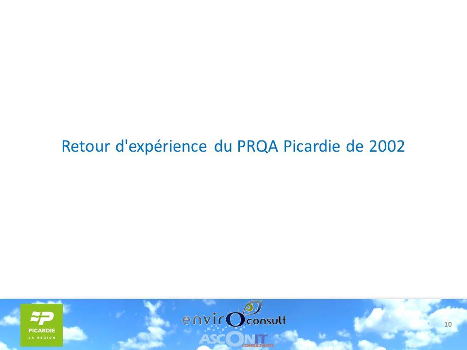 10 Retour d'expérience du PRQA Picardie de 2002