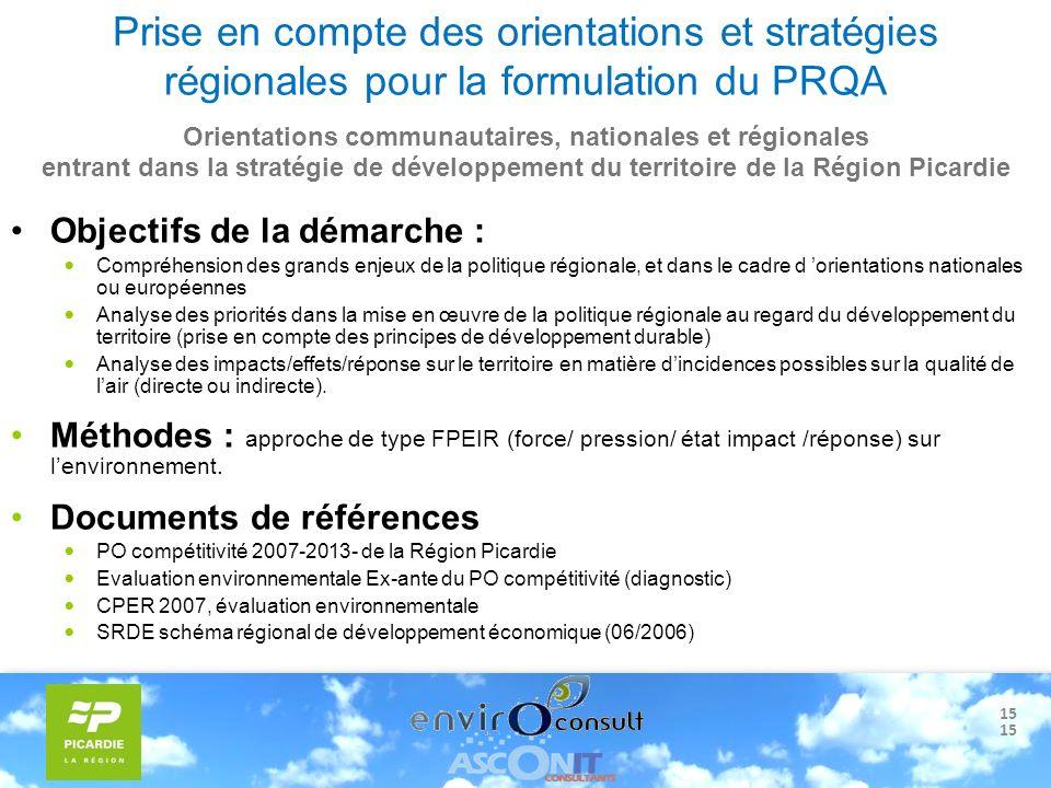 15 Prise en compte des orientations et stratégies régionales pour la formulation du PRQA Objectifs de la démarche : Compréhension des grands enjeux de