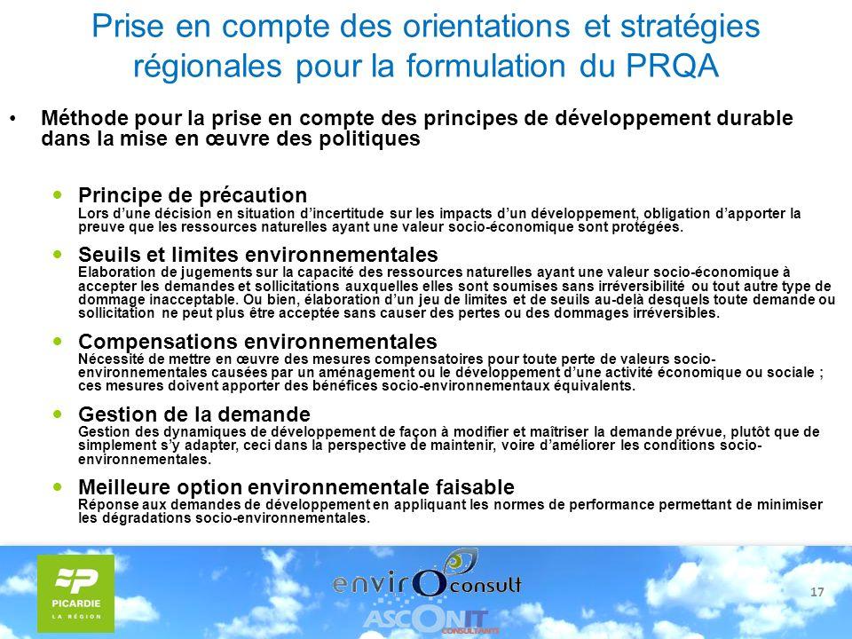 17 Prise en compte des orientations et stratégies régionales pour la formulation du PRQA Méthode pour la prise en compte des principes de développemen