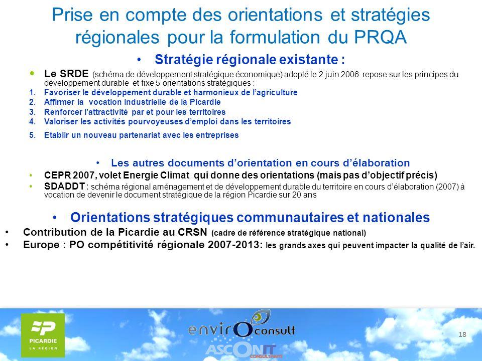 18 Prise en compte des orientations et stratégies régionales pour la formulation du PRQA Stratégie régionale existante : Le SRDE (schéma de développem
