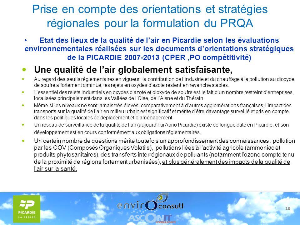 19 Prise en compte des orientations et stratégies régionales pour la formulation du PRQA Etat des lieux de la qualité de lair en Picardie selon les év