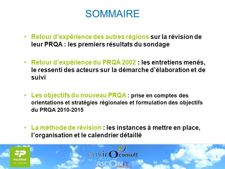 2 SOMMAIRE Retour dexpérience des autres régions sur la révision de leur PRQA : les premiers résultats du sondage Retour dexpérience du PRQA 2002 : le
