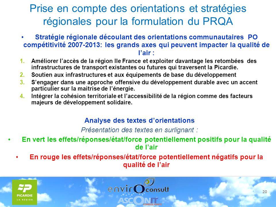 20 Prise en compte des orientations et stratégies régionales pour la formulation du PRQA Stratégie régionale découlant des orientations communautaires