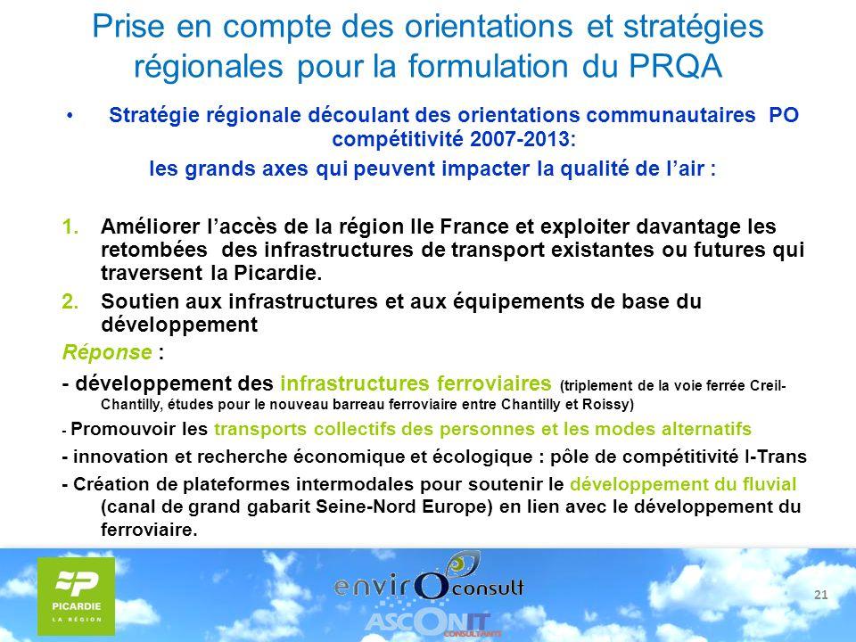 21 Prise en compte des orientations et stratégies régionales pour la formulation du PRQA Stratégie régionale découlant des orientations communautaires