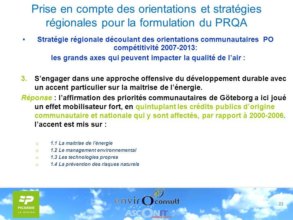22 Prise en compte des orientations et stratégies régionales pour la formulation du PRQA Stratégie régionale découlant des orientations communautaires