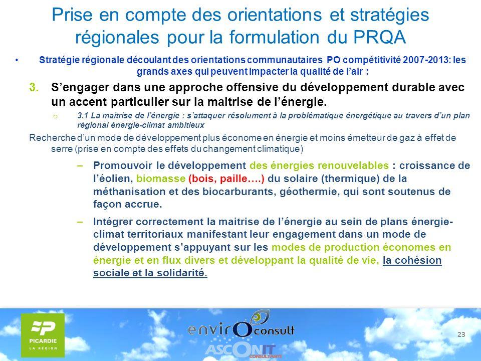23 Prise en compte des orientations et stratégies régionales pour la formulation du PRQA Stratégie régionale découlant des orientations communautaires