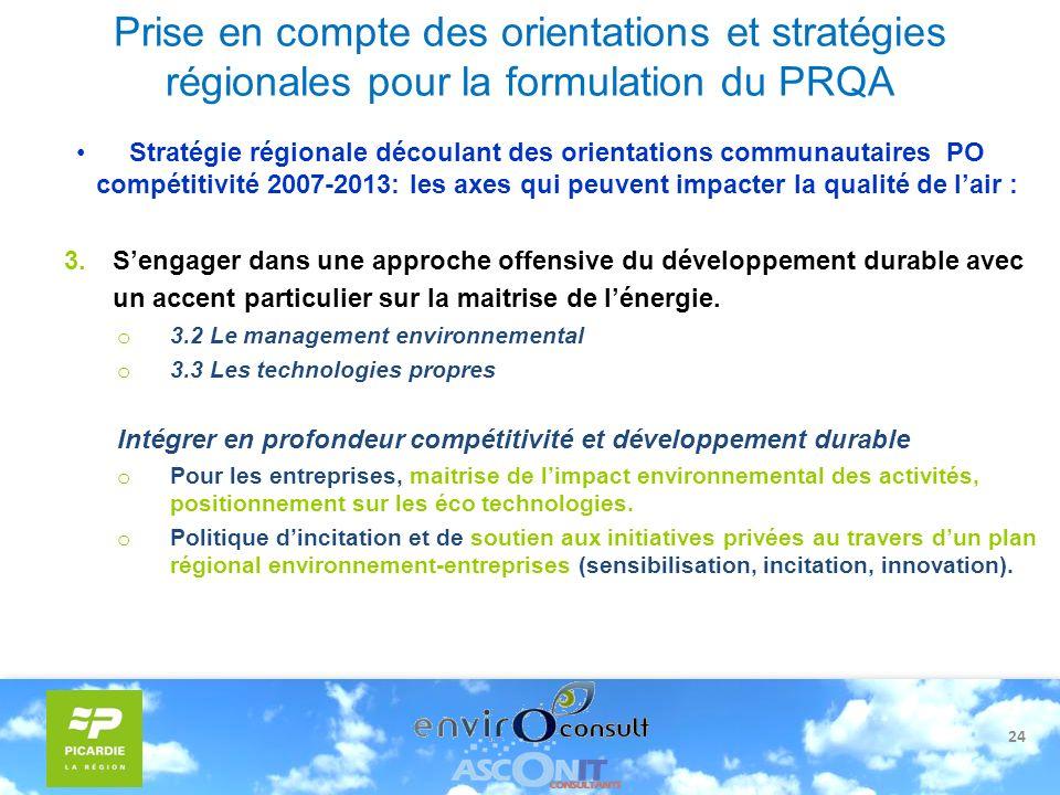 24 Prise en compte des orientations et stratégies régionales pour la formulation du PRQA Stratégie régionale découlant des orientations communautaires