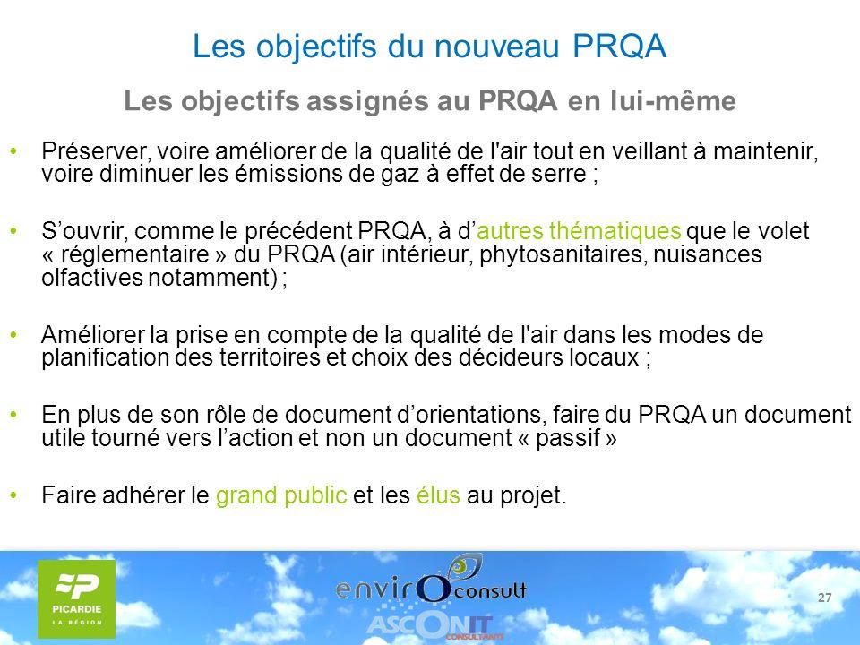 27 Les objectifs du nouveau PRQA Préserver, voire améliorer de la qualité de l'air tout en veillant à maintenir, voire diminuer les émissions de gaz à