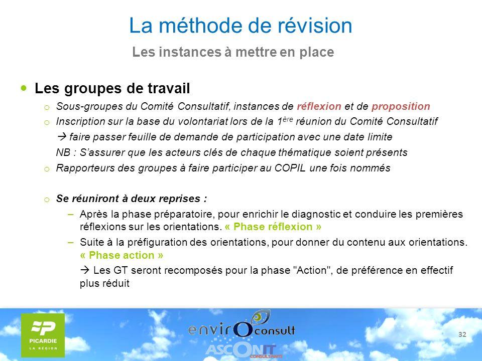 32 La méthode de révision Les instances à mettre en place Les groupes de travail o Sous-groupes du Comité Consultatif, instances de réflexion et de pr